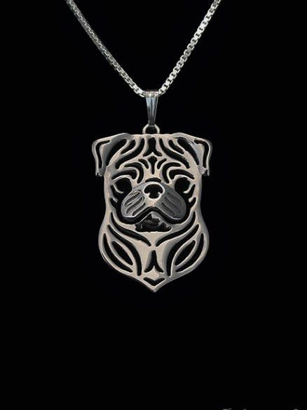Hedendaags Mops hond hanger Geometrisch zilver Plated Honden ketting | Honden BE-26