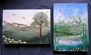 Two encaustic pictures on canvas - these were my first tries using the iron to apply the wax to canvas.