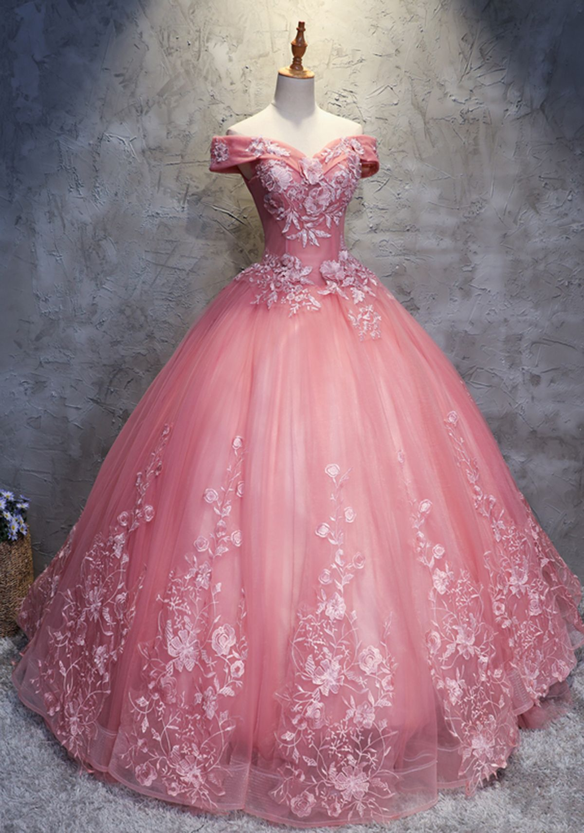 9a641276480f5 2018 off shoulder pink tulle long handmade evening dress, long ball gown ·  loverlovebridal · Online Store Powered by Storenvy