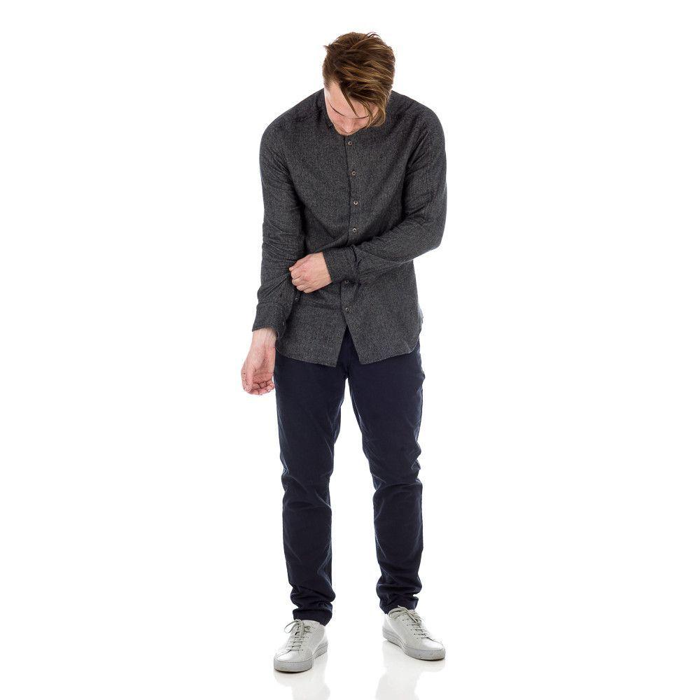 Jaspe Herringbone Flannel Shirt in Black