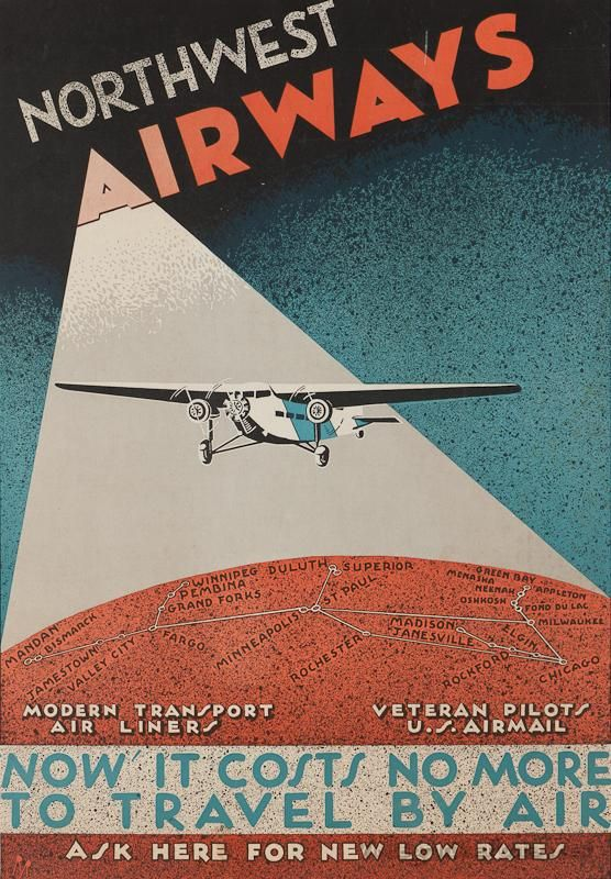 Vintage style travel poster - USA - Northwest Airlines