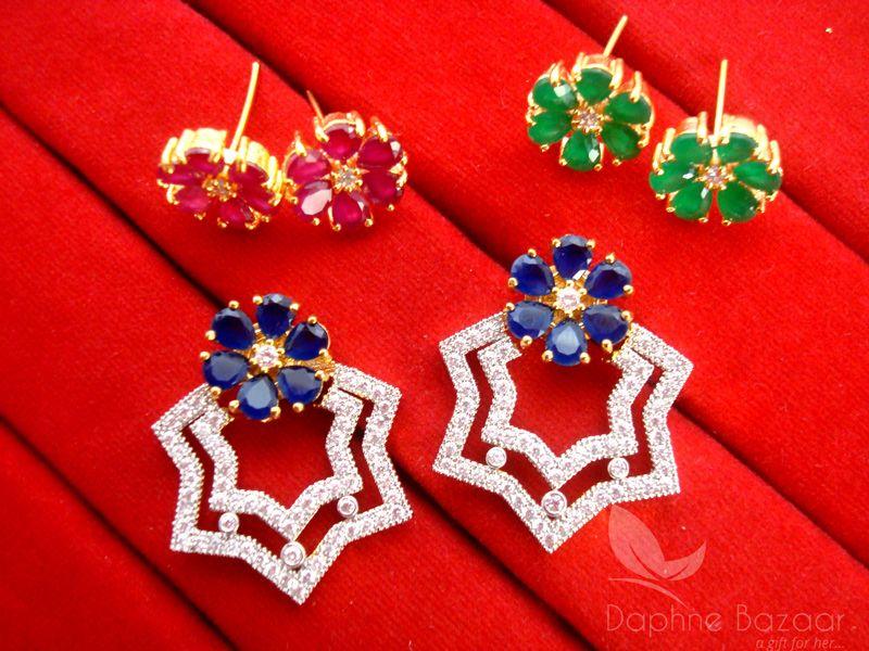 df5166a6f CE22, Daphne Rich SixInOne Changeable Zircon Earrings for Women ...