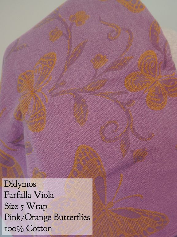 BWI of DC-MD-VA: Didymos Wrap Pink/Gold Farfalla Viola (butterflies) 100% cotton Size 5