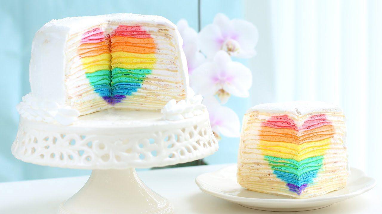 Rainbow Heart Surprise Mille Crepe Cake \