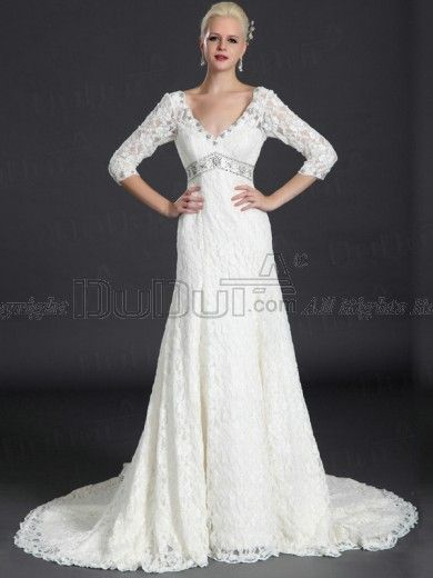 Free Shipping A-line Lace V-neck Wedding Dresses, Wedding Gowns, Bridal Gown, Bridal Dresses