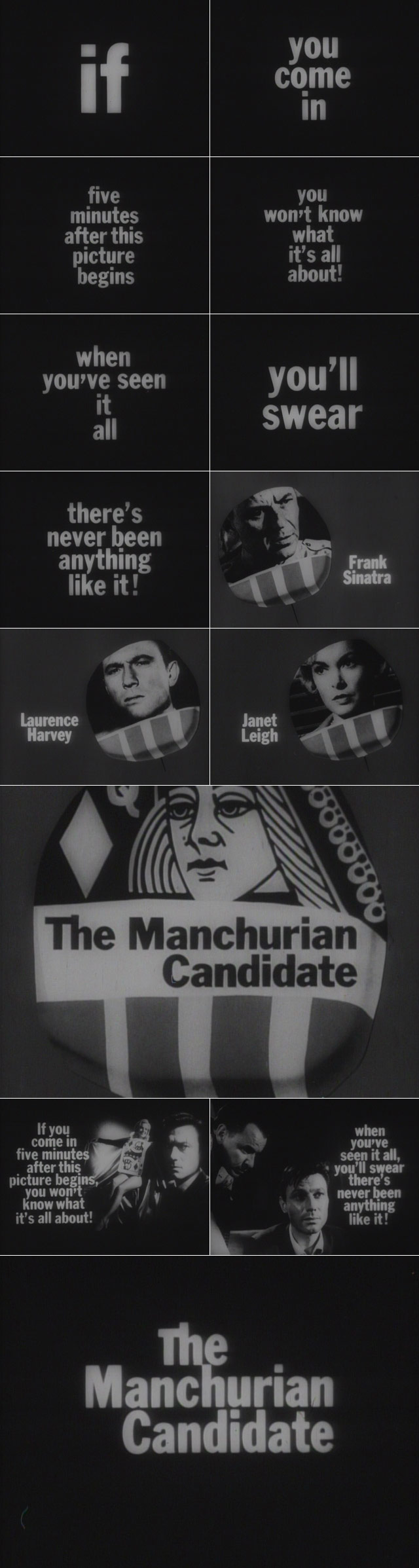 The Manchurian Candidate (1962) trailer typography