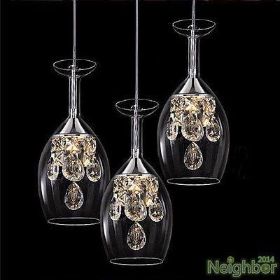Modern Crystal Wine glass Pendant Lamp LED Light Chandelier Dining – Led Light Chandelier