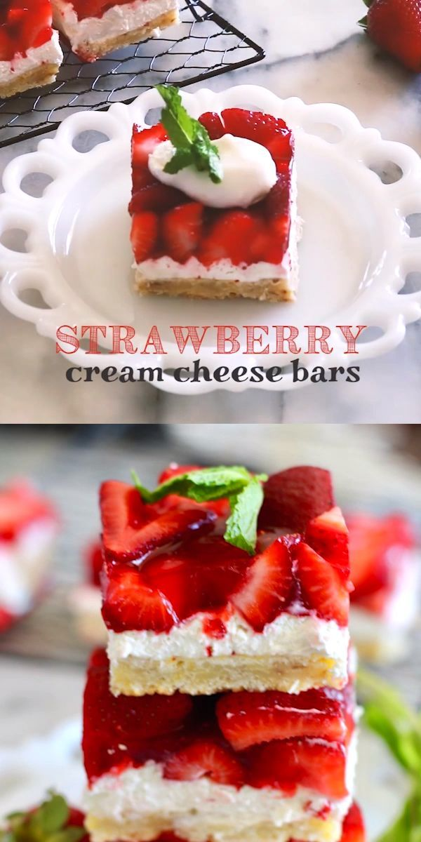 Strawberry Cream Cheese Bars - You'll LOVE this dessert recipe! | Buttery shortbread crust, creamy cheesecake filling, and fresh glazed strawberry bars - so delicious! |  #TheSeasideBaker #strawberrydessert See this and other fabulous recipes at TheSeasideBaker.com #creamcheeserecipes