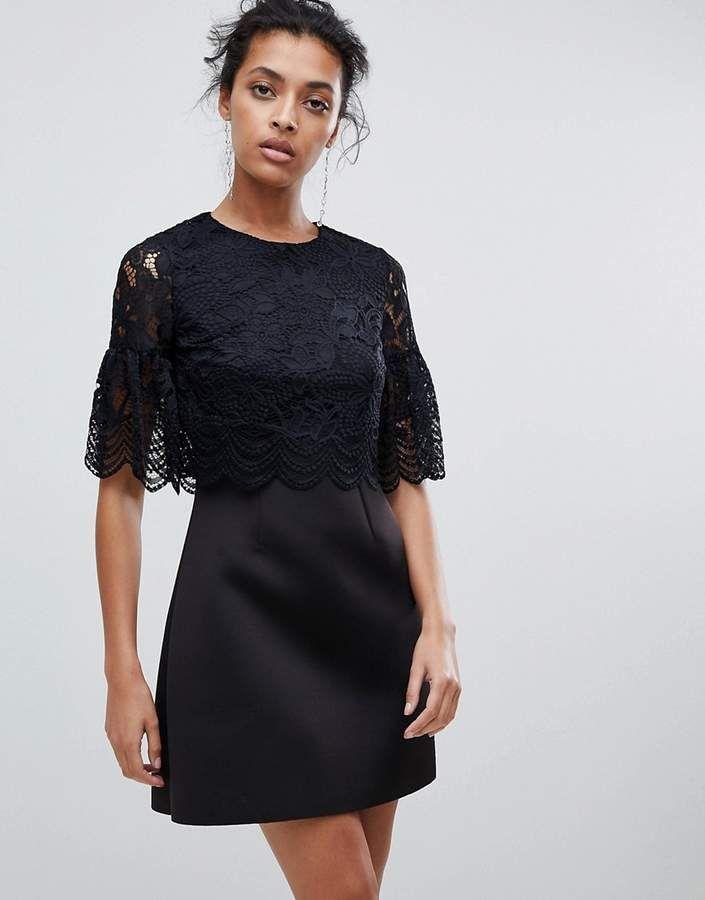 73e3c34d8 Lace Crop Top Scallop Mini Dress   Products   Lace crop tops ...