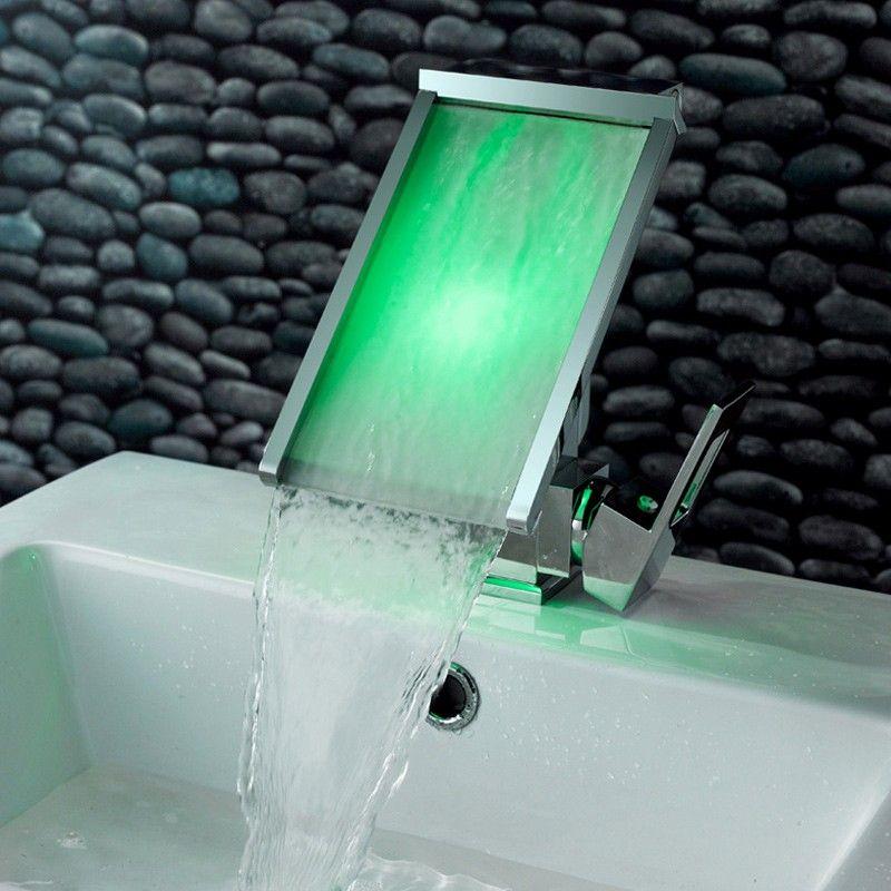 Koko Led Waterfall Single Hole Bathroom Sink Faucet Bathroom