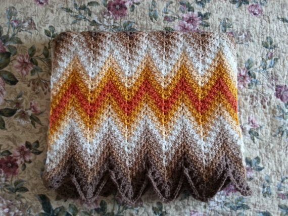 Crochet Blanket, Afghan, Throw in a Chevorn, ZigZag, Ripple Pattern ...