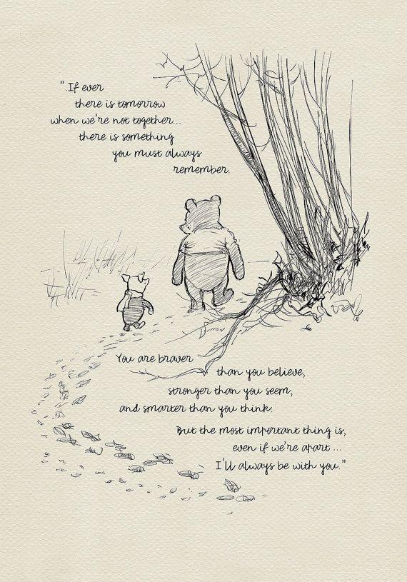 Photo of Sie sind mutiger als Sie glauben – Winnie the Pooh Quotes – klassischer Posterdruck im Vintage-Stil # 03