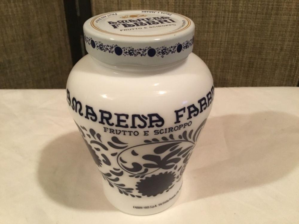Amarena Fabbri Bologna Italy Milk Glass Jar with Metal ...
