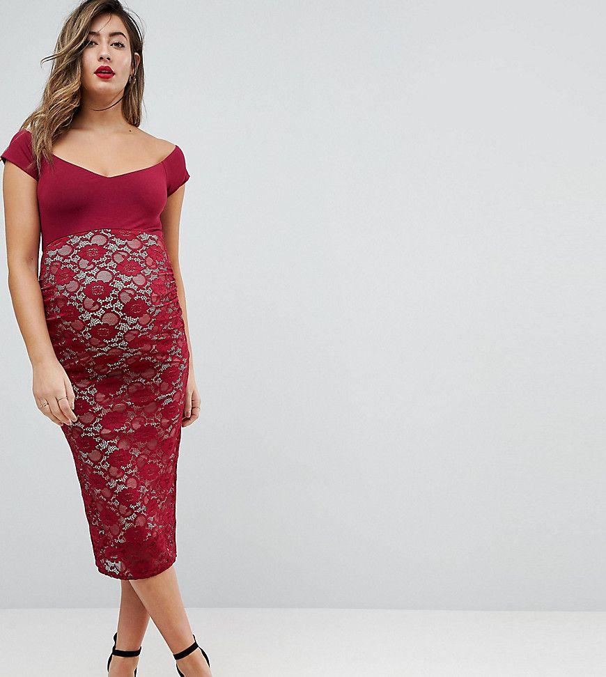 7af9c1d82 Asos Scuba Cross Front Lace Skirt Midi Dress – DACC