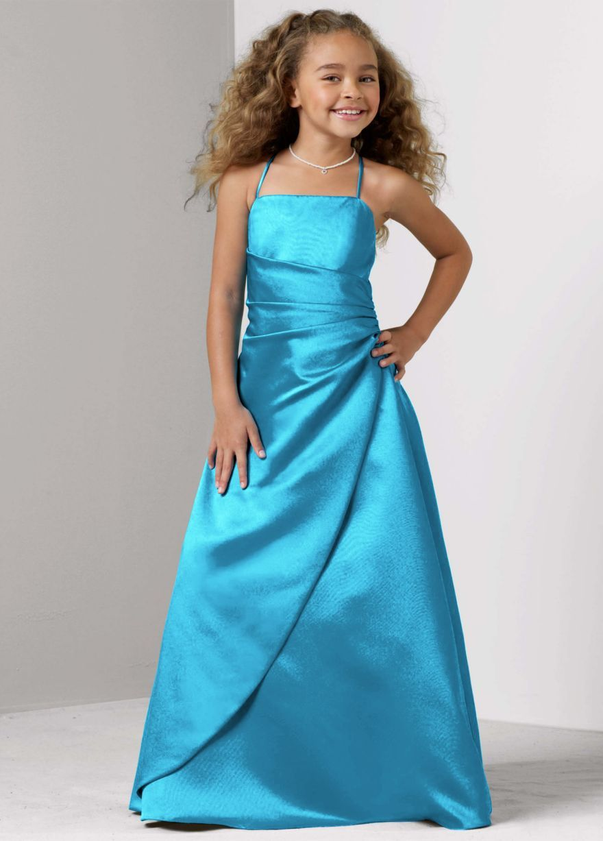 Alyssaus dress long satin ball gown with side ruching davidus