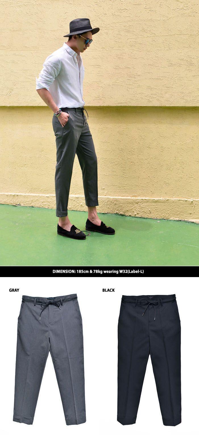 Belted Cropped Turn-up Slacks-Pants 239 by Guylook.com  #men's wear #men's fashion #stylish #style #fashion #dope #look #guylook #guylooks #lsummer #남자스타일 #멋진남자 #스타일 #패션스타일 #여름