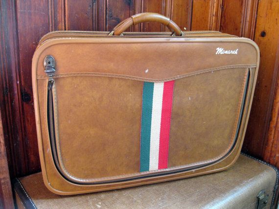 Vintage Striped Suitcase: Monarch tan front zipper luggage, travel ...