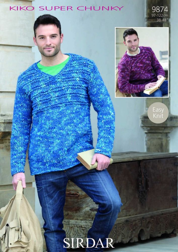 Sirdar Mens KiKO Super Chunky Sweaters Knitting Pattern 9874 ...
