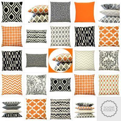 Kissenhüllen | SchÖne Kissen - Orange Schwarz Natur Kombination ... Wohnzimmer Orange Schwarz