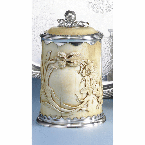 Edwardian silver-mounted IVORY biscuit barrell, Alfred Clark, London, 1901
