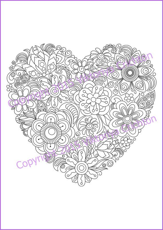 Whimsical Flower Heart Heart Coloring Pages Valentine Coloring