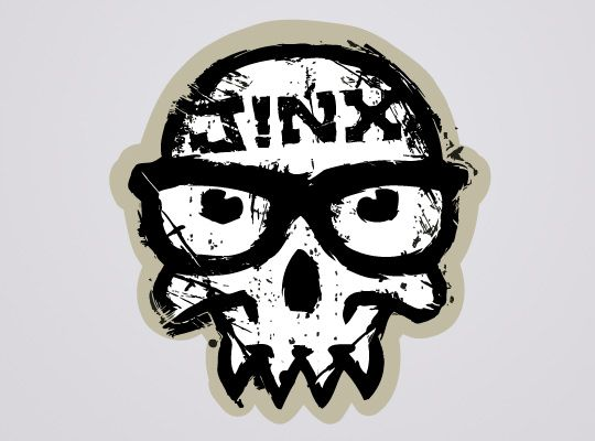 J!NX Distressed Skull #Sticker  This distressed version of the J!NX skull shows its timeworn look from PWNing the gamer and geek clothing market since 99. #skull