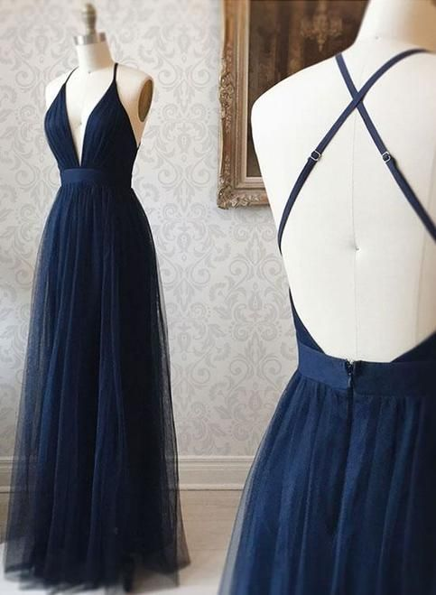 Simple v neck backless tulle long prom dress,Navy blue evening dress
