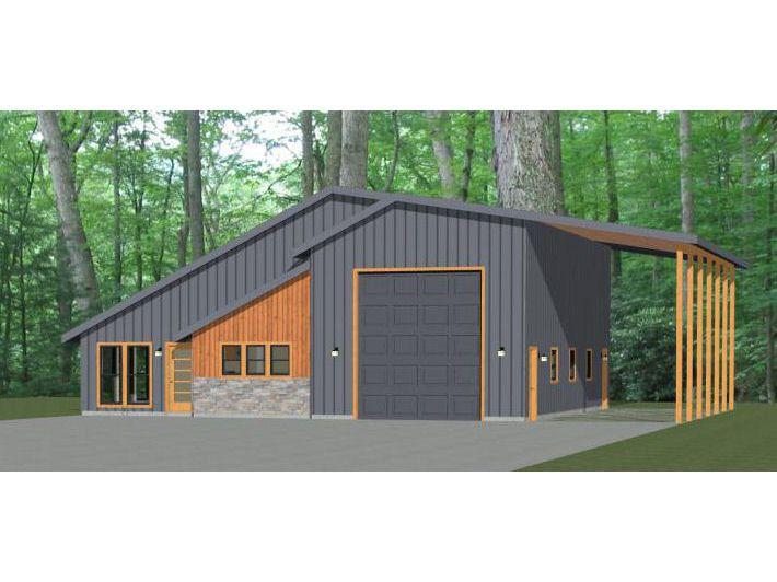 46x48 House -- 1-Bedroom 1.5-Bath -- 1,157 sq ft -- PDF Floor Plan -- Instant Download -- Model 3B