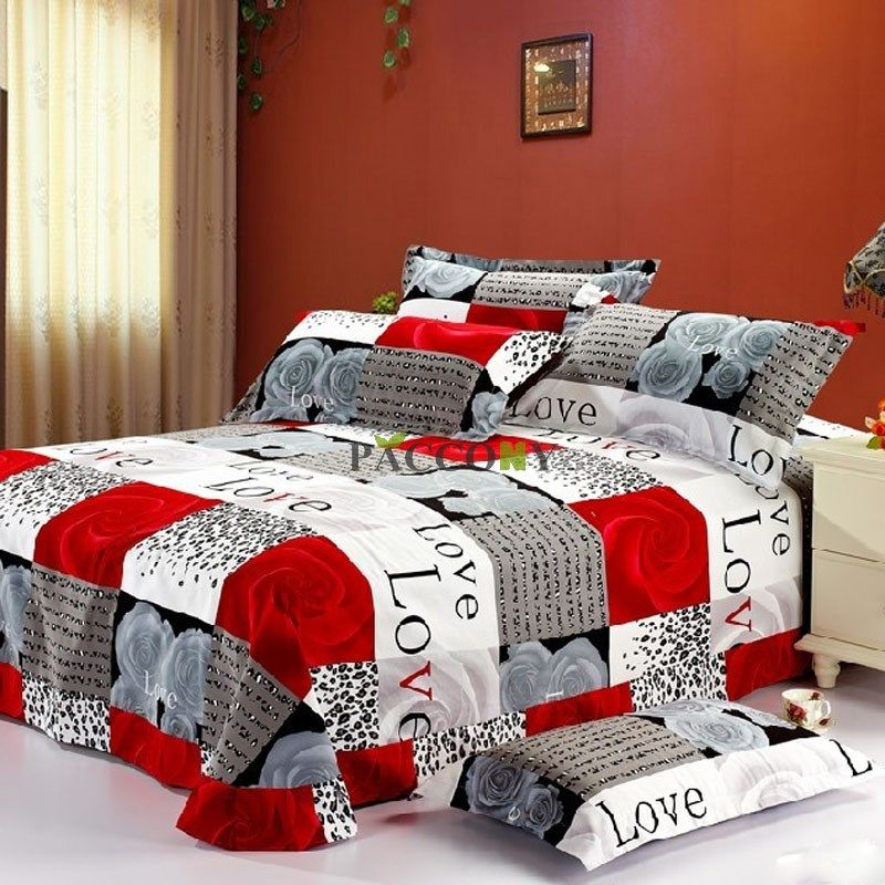 Cheap Contemporary Red Plaid Reactive Print Cotton 4 Piecefull Queen King Size Bedding Sets Under Price 1 King Size Bedding Sets Red Bedding Sets Bedding Sets