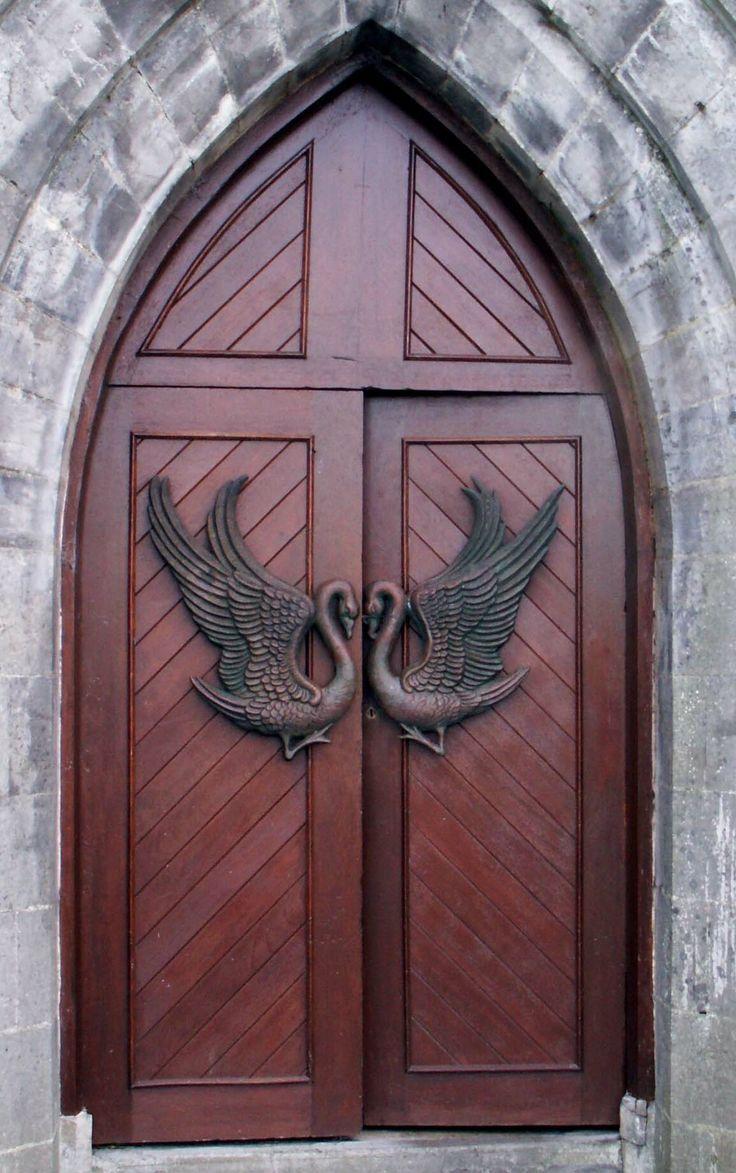 Swan door pulls - Monastery Door at Drumcliffe county Sligo Ireland. (Grave site of W. & Pin by елена лосева on двери   Pinterest   Swan lake Swans and Doors