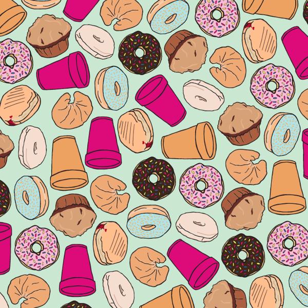 Dunkin Wallpaper Toile Pattern Tropical Print Wallpaper Donut Pattern