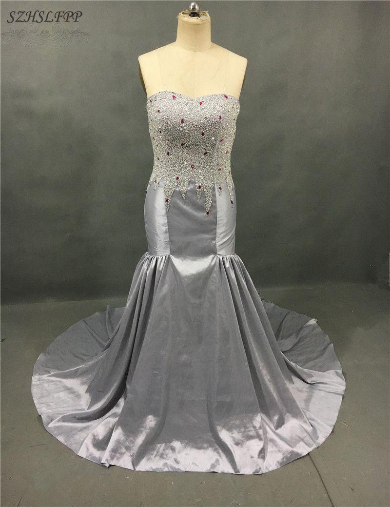 Click to buy ucuc robe de soiree real photo silver beading mermaid