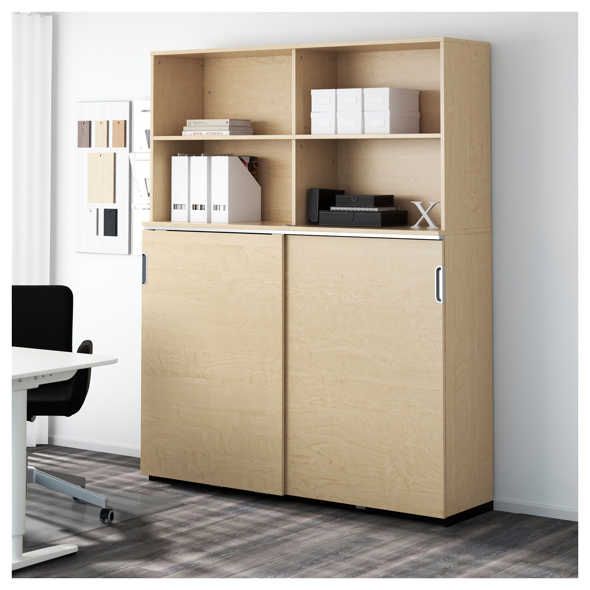 GALANT Storage Combination W Sliding Doors, Birch Veneer
