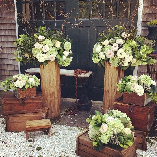 Wedding Altar Columns: Vintage Wooden Boxes, Local Cranberry Crates And Rustic