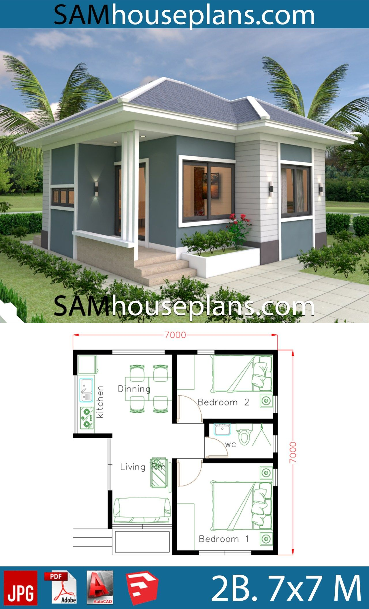 House Plans 7x7 With 2 Bedrooms Full Plans Small House Design Plans Small House Design Exterior Best Small House Designs