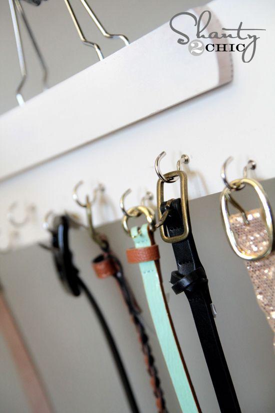 Storage Ideas · Belt Hanger DIY Shanty2Chic. Oooohhh Smart! You Could Take  A Wooden Blind Slat U0026
