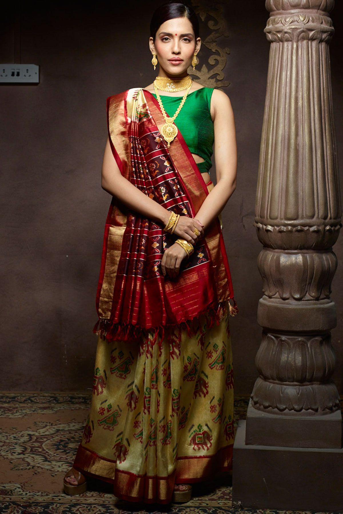 Off white tussar silk saree off whitered u gold zari woven patola silk sareesr  patola