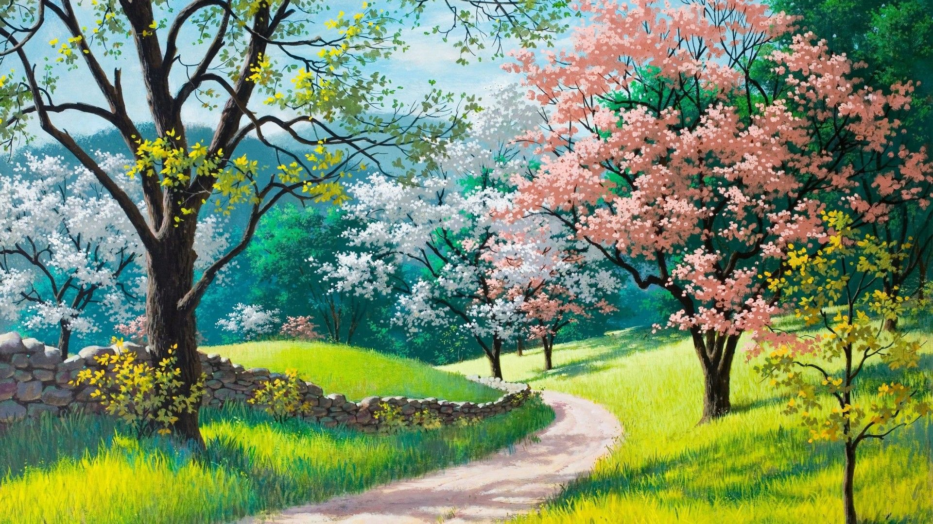 Spring Painting Wallpaper Hd 1920 1080 In 2019 Spring