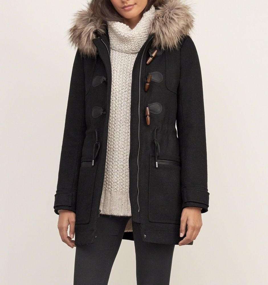 NWT Abercrombie & Fitch HOODED WOOL DUFFLE JACKET, Black, Small ...