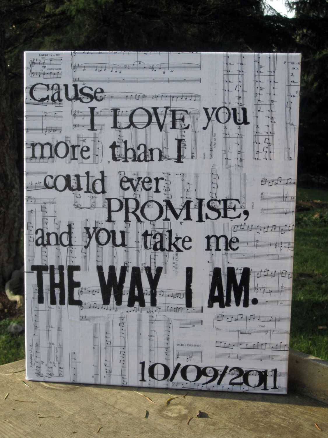 Custom Wedding/Song Lyrics - Vintage music sheet canvas art. $45.00 ...