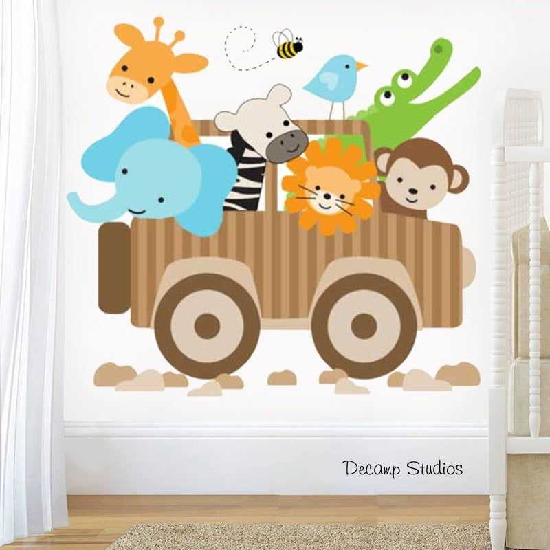 Safari Animal Decal Airplane Nursery Wall Art Mural Kids Jungle Room Stickers
