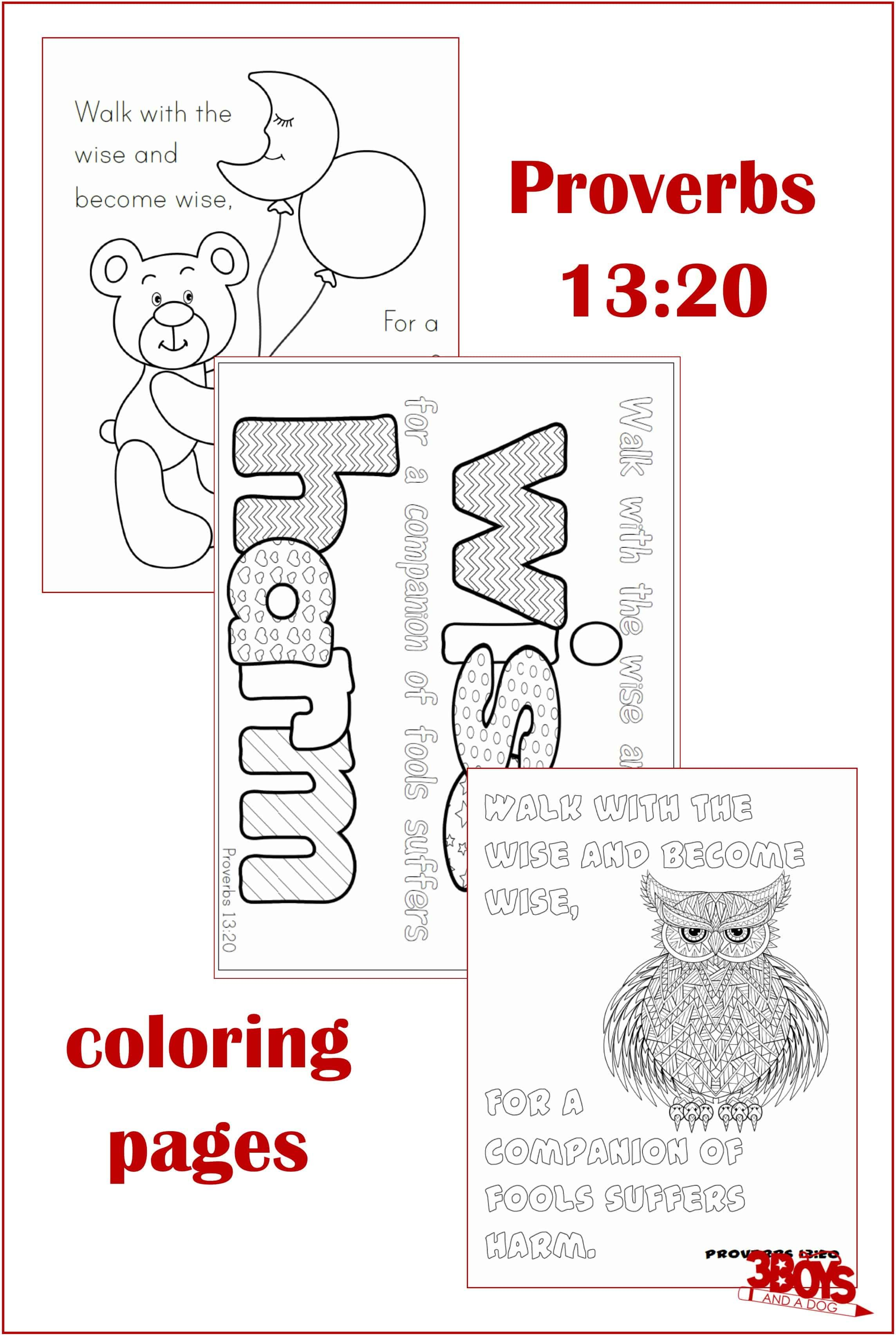 Proverbs 13 20 Coloring Pages Proverbs 13 Bible Lessons For