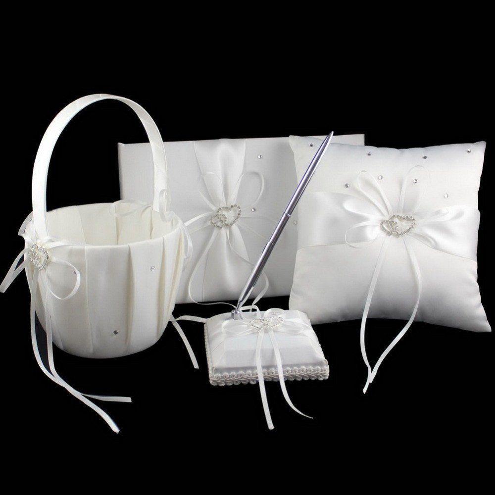Free shipping 4pcsset satin wedding ring pillow flower basket free shipping 4pcsset satin wedding ring pillow flower basket guest book pen set izmirmasajfo