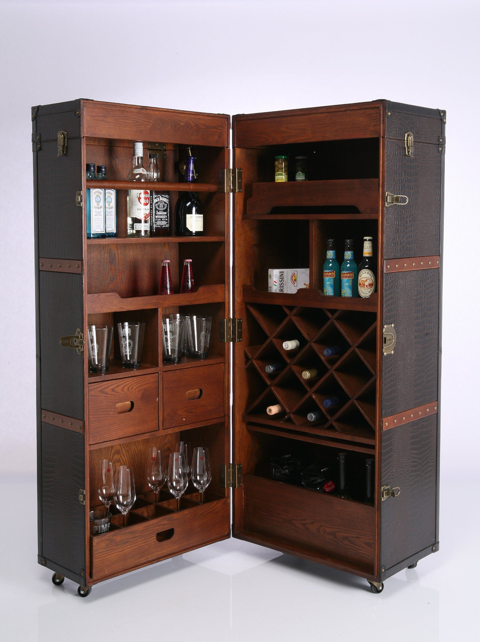 kare 73933 schrankkoffer bar colonial k che haushalt leather box cabinet pinterest. Black Bedroom Furniture Sets. Home Design Ideas