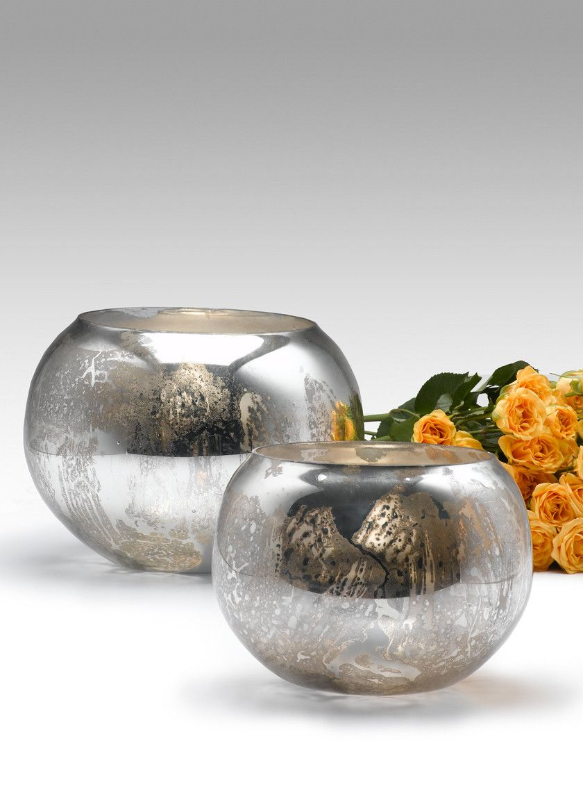 6- & 8-inch Antique Silver Fish Bowls | Large floral arrangements ...