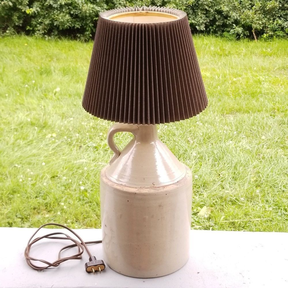 Vintage Handmade Stoneware Pottery Moonshine Jug Table Lamp With Lampshade Farmhouse Copper Table Lamp Lamp Unusual Lamps