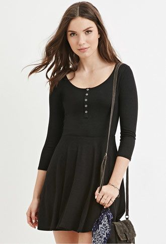 The Charcoal color///Buttoned Skater Dress | Forever 21 ...
