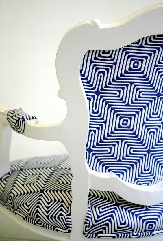 bold upholstery fabric - cobalt and white geometric fabric chair from Wild Chairy via atticmag & Who says you canu0027t use outdoor fabric indoors? | Upholstery Design ...