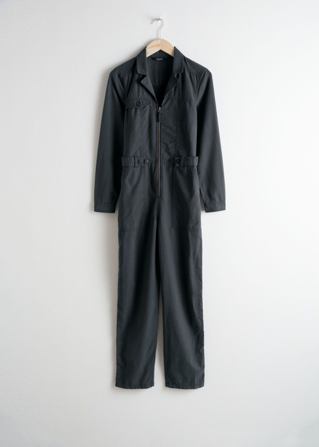 63a1b448e2e1 Other Stories utility workwear boiler suit in used black with front zipper  and deep pockets