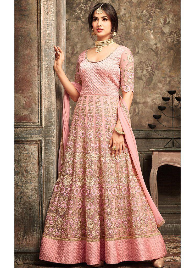 c1bbbd7c87 Light Pink Floral Embroidered Net Anarkali Suit   Anarkalis at ...